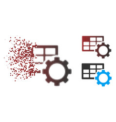 Shredded pixel halftone schedule settings icon vector