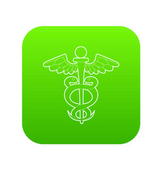sign medicine icon green vector image
