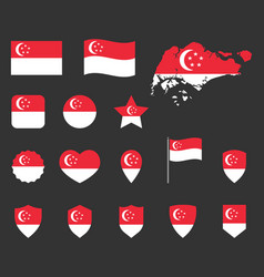 singapore flag icons set republic of singapore vector image