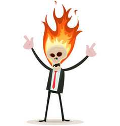 Skeleton head devil businessman vector