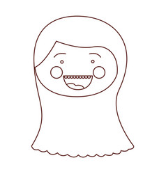 Sketch contour smile expression cartoon front face vector