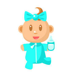 small happy baby walking in blue pajama holding a vector image