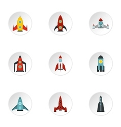 Space rocket icons set flat style vector