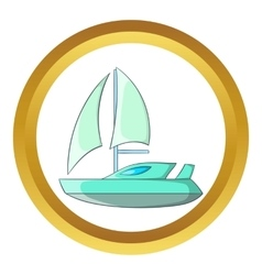 Speed boat with sail icon vector