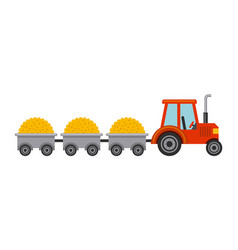 tractor with straw isolated icon vector image