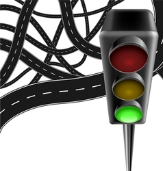 Traffic background with lamp and roads vector