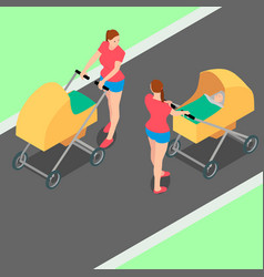 two identical women with strollers are walking in vector image