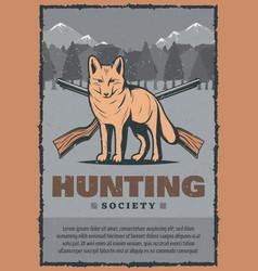 Vintage poster for fox hunt vector