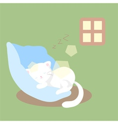 White cat sleeps or naps or rests vector