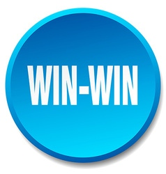 Win-win blue round flat isolated push button vector