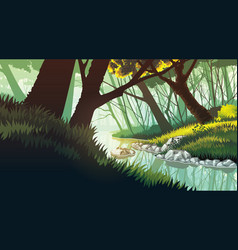 background of landscape with lake in the forest vector image