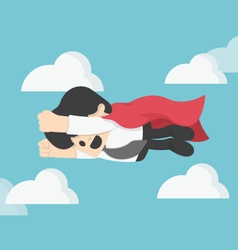 Businessman is flying like superman flying fast on vector image vector image