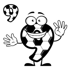 Cartoon number 9 with soccer pattern vector image vector image