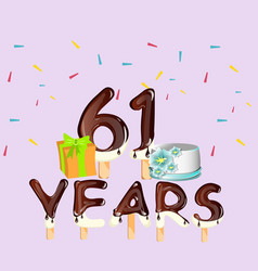 happy birthday 61 years card vector image vector image