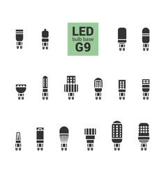 led light g9 bulbs silhouette icon set vector image vector image