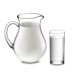 milk jug and glass of milk vector image vector image