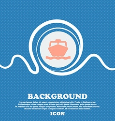 boat sign icon Blue and white abstract background vector image
