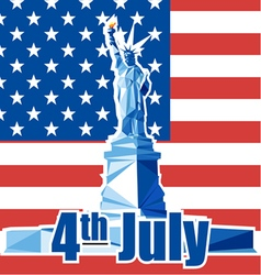 Fourth of july independence day card with statue o vector image