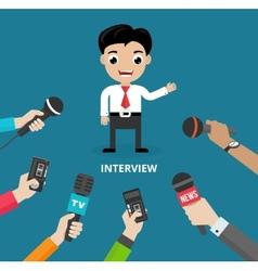 Media conducting a press interview vector
