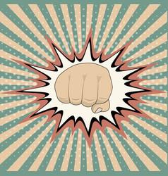pop art cartoon fist comic book crash vector image