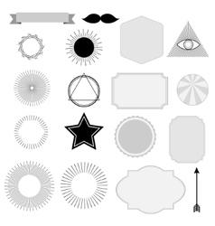 Set of vintage sunburst symbols labels tags vector image