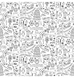 Winter hand drawn seamless pattern vector image vector image