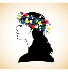 Young pretty woman profile and flowers vector image