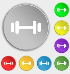 barbell icon sign Symbol on eight flat buttons vector image