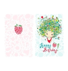 Birthday card design with holiday girl vector image