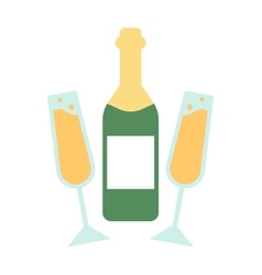 Champagne bottle and glasses flat vector image