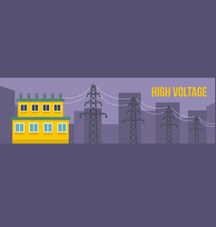 high voltage banner flat style vector image vector image