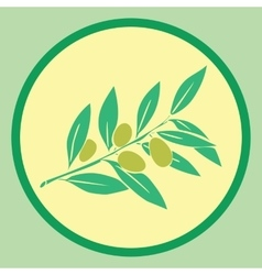 Sticker with olives branch vector image