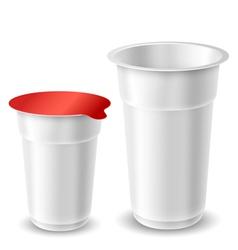 Yogurt cups vector image vector image