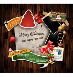 Christmas Vintage scrapbook composition vector image vector image