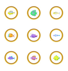 color fish icons set cartoon style vector image vector image