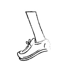 Figure leg with sport sneaker to practice exercise vector