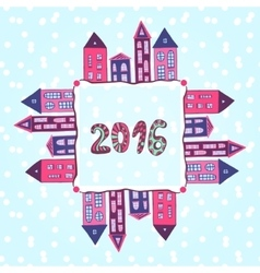 New year background 2016 lettering houses vector image vector image