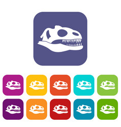 Skull of dinosaur icons set vector