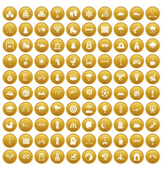 100 kids games icons set gold vector image
