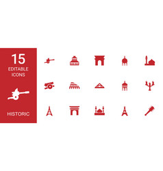15 historic icons vector