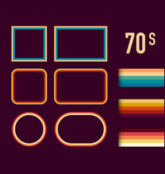 1970s style museum picture frames set trendy vector