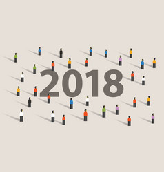2018 new year resolution and target crowd looking vector image