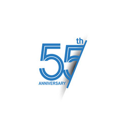 55 anniversary blue cut style isolated on white vector