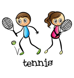 A girl and a boy playing tennis vector