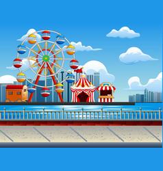 amusement park with ferris wheel o vector image