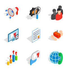 Analytical approach icons set isometric style vector