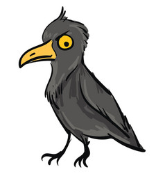 angry crow looking down color on white background vector image