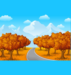 Autumn forest landscape with mountains and trees vector