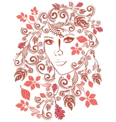 Autumn girl with floral3 vector