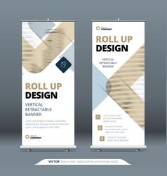 biege business roll up banner stand presentation vector image